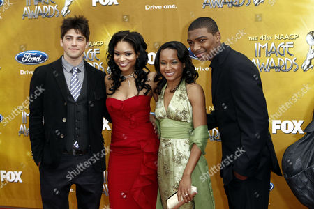 L-R) Robert Adamson, Erica Hubbard, Rhyon Brown, and Mishon Ratliff arrive at the 41st NAACP Image Awards, in Los Angeles