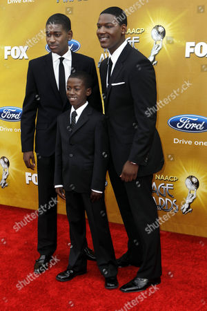 L-R) Kofi Siriboe, Kwame Boateng, and Kwesi Boakye arrive at the 41st NAACP Image Awards, in Los Angeles