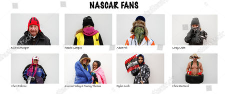 Chris MacNicol, Dylan Lordi, Jessicia Hatley, Tasney Thomas, Cheri Embree, Cindy Craft Natalie Campos, Adam Hill In this combo photo, NASCAR fans Rodrick Hooper, top left, Natalie Campus, Adam Hill, Cindy Craft, Cheri Embree, bottom left, Jessicia Hatley along with Tasney Thomas, Dylan Lordi and Chris MacNicol braved the cold weather in Daytona Beach, Fla. to watch the NASCAR auto racing practice and DRIVE4COPD 300 auto race