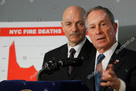 New York City Mayor Michael Bloomberg, right, and Fire Department Commissioner Salvatore J. Cassano speak to reporters during a news conference after Cassano's swearing in ceremony, in New York