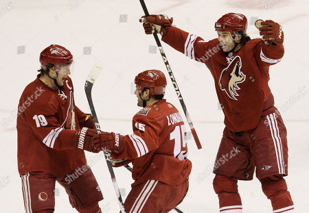Shane Doan, Matthew Lombardi, Robert Lang Phoenix Coyotes' Matthew Lombardi (15) celebrates his goal against the Edmonton Oilers with teammates Shane Doan (19) and Robert Lang, of the Czech Republic,in the first period of an NHL hockey game, in Glendale, Ariz