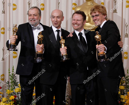 """Joe Letteri, Stephen Rosenbaum, Andrew R. Jones, Richard Baneham From left, Joe Letteri, Stephen Rosenbaum, Andrew R. Jones and Richard Baneham pose backstage with the Oscar for best achievement in visual effects for """"Avatar"""" at the 82nd Academy Awards, in the Hollywood section of Los Angeles"""