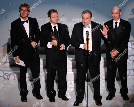 """Stock Photo of Richard Baneham, Andrew R. Jones, Joe Letteri, Stephen Rosenbaum From left, Richard Baneham, Andrew R. Jones, Joe Letteri, and Stephen Rosenbaum accept the Oscar for best achievement in visual effects for """"Avatar"""" during the 82nd Academy Awards, in the Hollywood section of Los Angeles"""