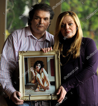 Stock Picture of Sharon Murphy, Simon Monjack Simon Monjack, left, husband of deceased actress Brittany Murphy, and Murphy's mother Sharon pose with a portrait of the actress, in Los Angeles, . Monjack said the portrait by photographer Bruce Weber was Murphy's favorite photo of herself
