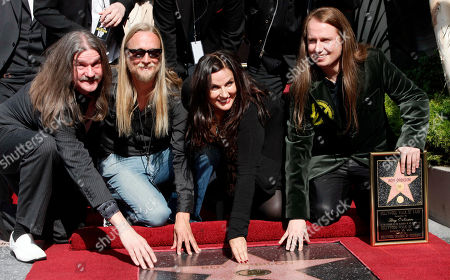 Family members, from left, Westly Orbison, Alex Orbison, Barbara Orbison and Roy Orbison gather as the late Roy Orbison is honored with a star on the Hollywood Walk of Fame, in the Hollywood Section of Los Angeles