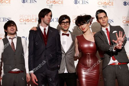 Stock Photo of Nate Novarro, Ryland Blackinton, Alex Suarez, Victoria Asher, Gabe Saport From left, Nate Novarro, Ryland Blackinton, Alex Suarez, Victoria Asher and Gabe Saport of Cobra Starship pose in the press room at the People's Choice Awards, in Los Angeles