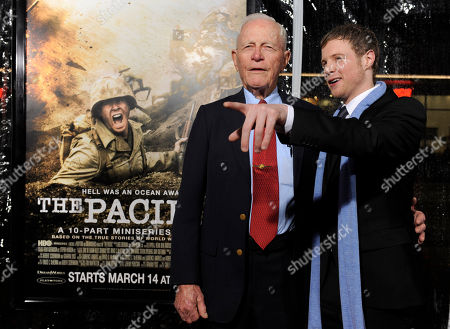 """Ashton Holmes, Sidney Phillips Actor Ashton Holmes, right, poses with Marine Pfc. Dr. Sidney Phillips, whom he portrays in """"The Pacific,"""" at the premiere of the ten-part HBO miniseries in Los Angeles"""