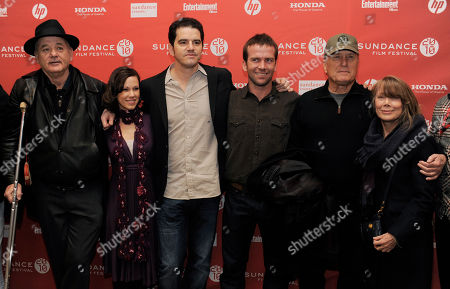 "Aaron Schneider, Bill Murray, Lori Beth Edgeman, Lucas Black, Robert Duvall, Sissy Spacek Get Low"" director Aaron Schneider, third from left, poses with cast members, from left, Bill Murray, Lori Beth Edgeman, Lucas Black, Robert Duvall and Sissy Spacek at the premiere of the film during the Sundance Film Festival in Park City, Utah"