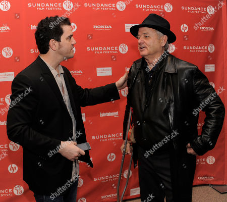 "Aaron Schneider, Bill Murray Get Low"" director Aaron Schneider, left, greets cast member Bill Murray at the premiere of the film during the Sundance Film Festival in Park City, Utah"