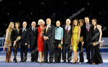 Tara Lipinski, Kristi Yamaguchi, Scott Hamilton, David Jenkins, Tenley Albright, Dick Button, Carol Heiss, Hayes Jenkins, Peggy Fleming, Dorothy Hamill, Brian Boitano, Sarah Hughes American figure skating champions, from left, Tara Lipinski, Kristi Yamaguchi, Scott Hamilton, David Jenkins, Tenley Albright, Dick Button, Carol Heiss, Hayes Jenkins, Peggy Fleming, Dorothy Hamill, Brian Boitano and Sarah Hughes are seen during a moment of honor for past American Olympians at the U.S. Figure Skating Championships in Spokane, Wash