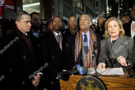 """Al Sharpton, Kirsten Gillibrand, Harold Ford Former U.S. Rep. Harold Ford Jr., left, looks on with New York State Senator Malcom Smith, second from left, Rev. Al Sharpton, second from right, as Senator Kirsten Gillibrand, right, as she speaks before a vigil to pray for Haitian earthquake victims outside near the Hatian Consulate in New York. Ford began crafting his argument Tuesday for a potential bid to unseat Sen. Kirsten Gillibrand, reinventing himself as an independent thinker battling """"Washington insiders"""