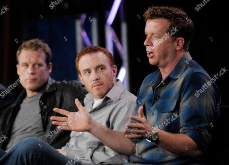 """McG, Jonathan E. Steinberg, Mark Valley McG, right, executive producer of the television series """"Human Target,"""" participates in a panel discussion as fellow executive producer Jonathan E. Steinberg, center, and cast member Mark Valley look on at the FOX Television Critics Association winter press tour in Pasadena, Calif"""