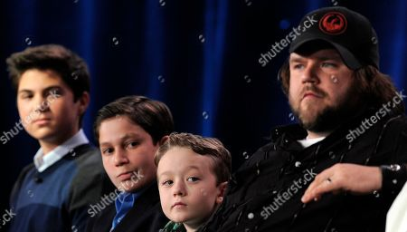 "Matthew Levy, Frank Dolce, Benjamin Stockham, Tyler Labine Sons of Tucson"" cast members, from left, Matthew Levy, Frank Dolce, Benjamin Stockham and Tyler Labine participate in a panel discussion at the FOX Television Critics Association winter press tour in Pasadena, Calif"