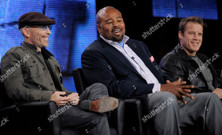 """Jackie Earle Haley, Chi McBride, Mark Valley Jackie Earle Haley, left, Chi McBride, center, and Mark Valley, cast members in the television series """"Human Target,"""" participate in a panel discussion at the FOX Television Critics Association winter press tour in Pasadena, Calif"""