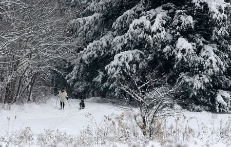 Debbie Ross cross country skis with her dog, in Moreland Hills, Ohio. In Ohio, the Weather Service warned of a possible lake effect: arctic air blowing over the Great Lakes, picking up moisture and carrying it inland, creating narrow bands of heavy snow. A winter storm warning is in effect until Saturday morning