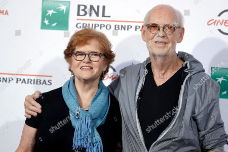 """Mick Jackson, Deborah Lipstad Director Mick Jackson, right, and author Deborah Lipstad pose for photographers during the photo call of the movie """"Denial"""", at the Rome Film Festival, in Rome"""