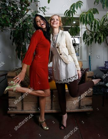 "Maya Zapata, Ana Layevska Mexican actresses Maya Zapata, who plays Francisca, left, and Ana Layevska, who plays Ximena, in the new "" Casi Divas"" feature film pose for a photo at the ""Point de Vue"" beauty salon in Beverly Hills, Calif. on"