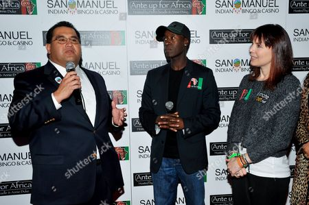 Don Cheadle, James Ramos, Annie Duke, Lyn Valbuena L-R) San Manuel Tribe Chairman James Ramos, actor Don Cheadle and professional poker player Annie Duke pose for a photograph at the 2nd Annual Ante Up for Africa poker tournament to benefit Darfur at San Manuel Indian Bingo & Casino in Highland, California on October 29th, 2009
