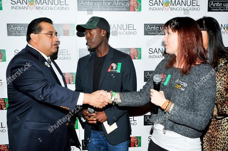 Don Cheadle, James Ramos, Annie Duke L-R) San Manuel Tribe Chairman James Ramos, actor Don Cheadle and professional poker player Annie Duke pose for a photograph at the 2nd Annual Ante Up for Africa poker tournament to benefit Darfur at San Manuel Indian Bingo & Casino in Highland, California on October 29th, 2009