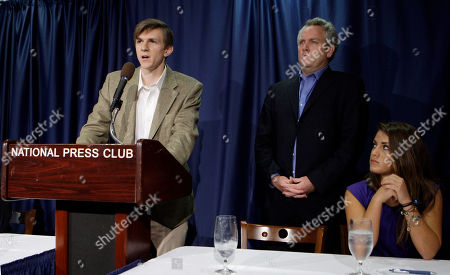 Hannah Giles, Andrew Breitbart, James O'Keefe III James O'Keefe III, left, speaks during a news conference, at the National Press Club in Washington. Listening at right is Andrew Breitbart and Hannah Giles