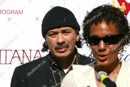 Stock Image of Carlos Santana and wife Deborah Santana