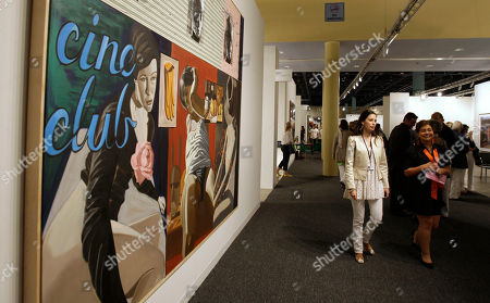 A painting by David Salle is shown by the Mary Boone Gallery during the Art Basel Miami Beach Vernissage in Miami Beach, Fla