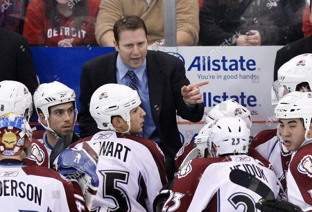 Joe Sacco Colorado Avalanche head coach Joe Sacco talks to his team during the closing seconds of an NHL hockey game against the Detroit Red Wings in Detroit, . The Red Wings won 4-2