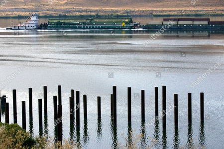 A tugboat pushes Tidewater barges up the Columbia River near Arlington, Ore. Lewiston, Idaho, port officials announced, that container traffic at the Port of Lewiston in northern Idaho will resume after being suspended for nearly six months and the Northwest Container Services and transport company Tidewater will begin using a new route in December, 2015. In April, 2015, container traffic came to a halt after shipper Hapag-Lloyd stopped calling on the Port of Portland. The new route will go by barge to the Port of Morrow, Ore., and containers will then shift to rail to travel to western Washington, which will allow exports to be transferred to ocean-going ships