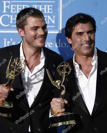 Vincent Irizarry, Jeff Branson Vincent Irizarry, left, and Jeff Branson are seen backstage with the outstanding supporting actor in a drama series award at the Daytime Emmy Awards, in Los Angeles