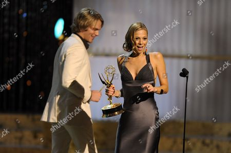 Stock Image of Tamara Braun, Van Hansis Actress Tamara Braun accepts the award for outstanding supporting actress in a drama series from Van Hansis at the Daytime Emmy Awards,in Los Angeles