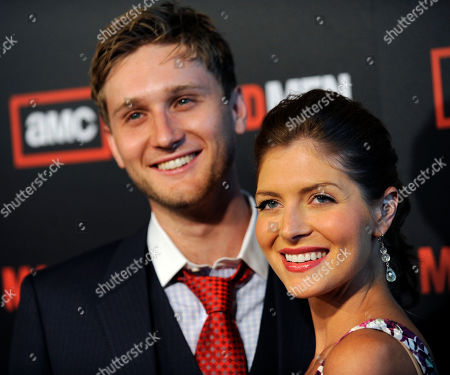 """Aaron Staton, Connie Fletcher Actor Aaron Staton and his wife Connie Fletcher arrive at the Season 3 premiere of the AMC series """"Mad Men"""" in Los Angeles"""