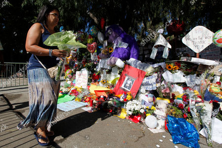 Stock Picture of Al Sharpton Anita Scott Los Angeles places flowers at a makeshift memorial outside the family home of late pop star Michael Jackson in the Encino, Calif., on