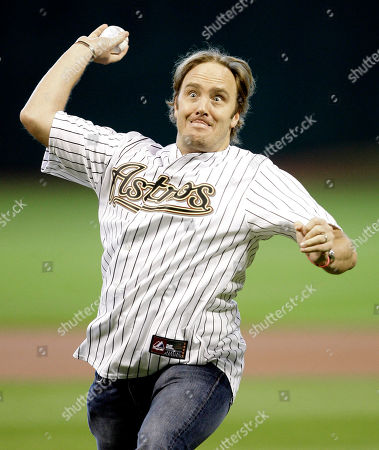 Jay Mohr Actor Jay Mohr throws out the ceremonial first pitch before the Houston Astros baseball game against the Philadelphia Phillies in Houston