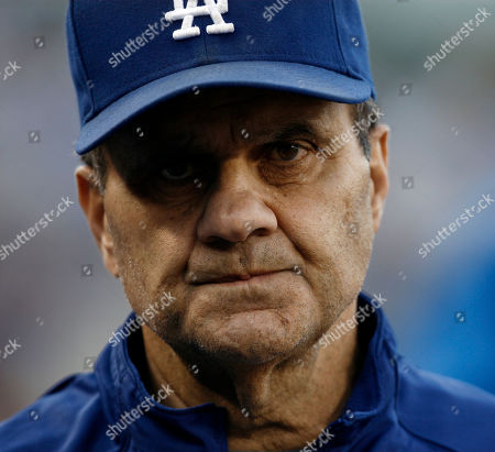 Stock Picture of Joe Torre Los Angeles Dodgers manager Joe Torre watches after St. Louis Cardinals' Mark DeRosa scored in the seventh inning of Game 2 of the National League division baseball series, in Los Angeles