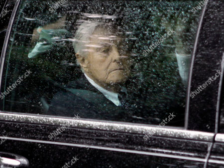 """R. Sargent Shriver looks out of a car window as he arrives at a wake for his wife Eunice Kennedy Shriver at Our Lady of Victory Roman Catholic Church, in the Centerville section of Barnstable, Mass. Shriver, the exuberant public servant and Kennedy in-law whose singular career included directing the Peace Corps, fighting the """"War on Poverty"""" and, less successfully, running for office, died . He was 95"""
