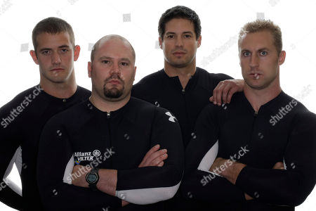 Justin Olsen, Steve Holcomb, Steve Mesler, Curtis Tomasevicz From left to right, bobsled competitors Justin Olsen, Steve Holcomb, Steve Mesler and Curtis Tomasevicz pose for a portrait during the USOC Media Summit in Chicago