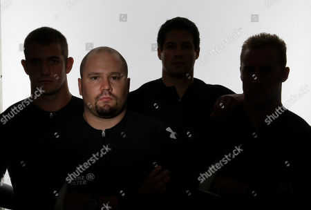 Steve Holcomb Bobsled competitor Steve Holcomb poses for a portrait with his teammates during the USOC Media Summit in Chicago