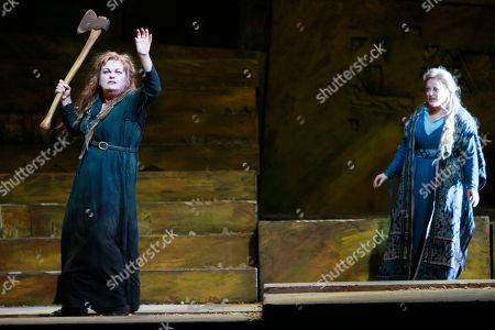 "Susan Bullock Susan Bullock performs the title roll alongside Deborah Voigt performing as Chrysothemis during the final dress rehearsal of Richard Stauss' ""Elektra"" at the Metropolitan Opera in New York"