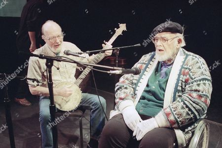 "Pete Seeger, Burl Ives Pete Seeger, left, age 74, who hadn't sung with Burl Ives, right, age 84, for at least 40 years, sing together in rehearsal at New York's 92nd St., Y. in May 1993. He sent word to the hotel where Ives and wife Dorothy were setting in before the concert that he'd like to sing a duet with him. Ives says, ""I'll be glad to see Pete."" They sang ""Blue Tail Fly."" Nowadays, Ives sings mostly benefits"