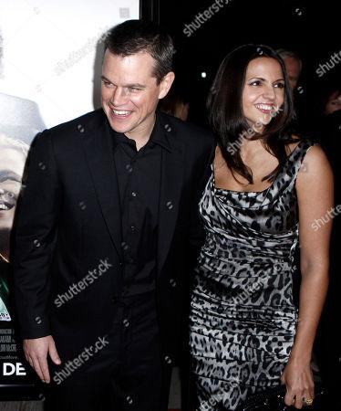 "Matt Damon, Luciana Bozan Barroso Cast member Matt Damon, left, and his wife, Luciana Bozan Barroso, arrive at the premiere of ""Invictus"" in Beverly Hills, Calif. on"