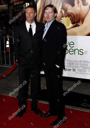 """Brandon Camp. Aaron Eckhart Director Brandon Camp, right, and cast member Aaron Eckhart pose together at the premiere of """"Love Happens"""" in Los Angeles on"""