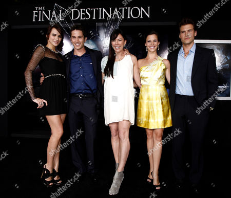 "Shantel VanSanten, Bobby Campo, Krista Allen, Haley Webb, Nick Zano From left, cast members Shantel VanSanten, Bobby Campo, Krista Allen, Haley Webb, and Nick Zano pose together at the premiere of ""The Final Destination"" in Los Angeles on"