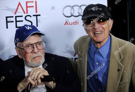 """Robert Boyle, Haskell Wexler Veteran production designer Robert Boyle, left, and cinematographer Haskell Wexler pose together at the premiere of the film """"The Imaginarium of Dr. Parnassus"""" at AFI Fest 2009 in Los Angeles"""