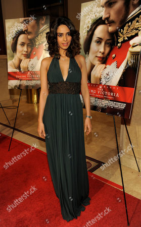 """Stock Image of Millika Sherawat Millika Sherawat poses at the premiere of the film """"The Young Victoria"""" in Los Angeles, in Los Angeles"""