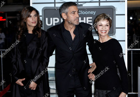 """George Clooney, Nina Bruce Clooney, Elisabetta Canalis Cast member George Clooney, center, his mother, Nina Bruce Clooney, right, and Elisabetta Canalis arrive at the premiere of """"Up in the Air"""" in Los Angeles on"""