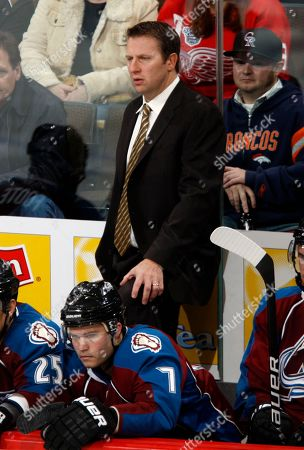 Joe Sacco Colorado Avalanche head coach Joe Sacco looks on against the Detroit Red Wings in the second period of an NHL hockey game in Denver on