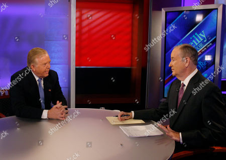 """Lou Dobbs, Bill O'Reilly Longtime CNN commentator Lou Dobbs, left, who resigned from the cable network last week after working there for 29 years, speaks to Bill O'Reilly at the start of a segment for Fox News channel's """"The O'Reilly Factor,"""" in New York"""