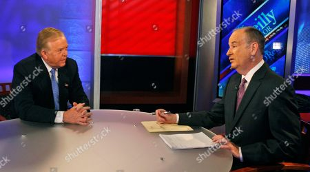 """Lou Dobbs, Bill O'Reilly Longtime CNN commentator Lou Dobbs, left, who announced his resignation last week after 29 years there, speaks to Bill O'Reilly during taping for Fox News channel's """"The O'Reilly Factor,"""" in New York"""