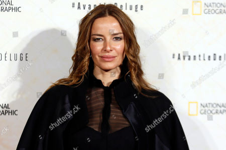 Chilean actress Carolina Parsons poses for photographers during a photo call for the french premiere of the film 'Before the Flood', ('Avant Le Deluge') at Chatelet Theater in Paris