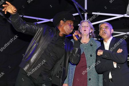 Stock Picture of The countdown - Eddy Grant, Councillor Lib Peck (Leader of Leader of Lambeth Council) and Sadiq Khan